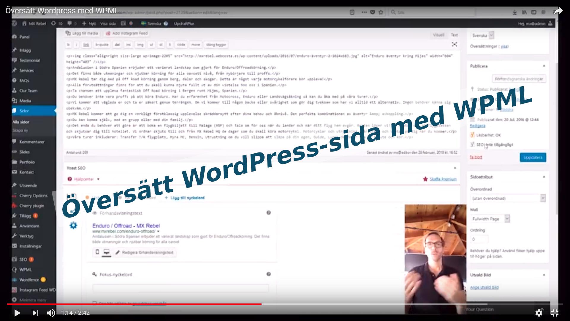 Översätt WordPress-sida med WPML