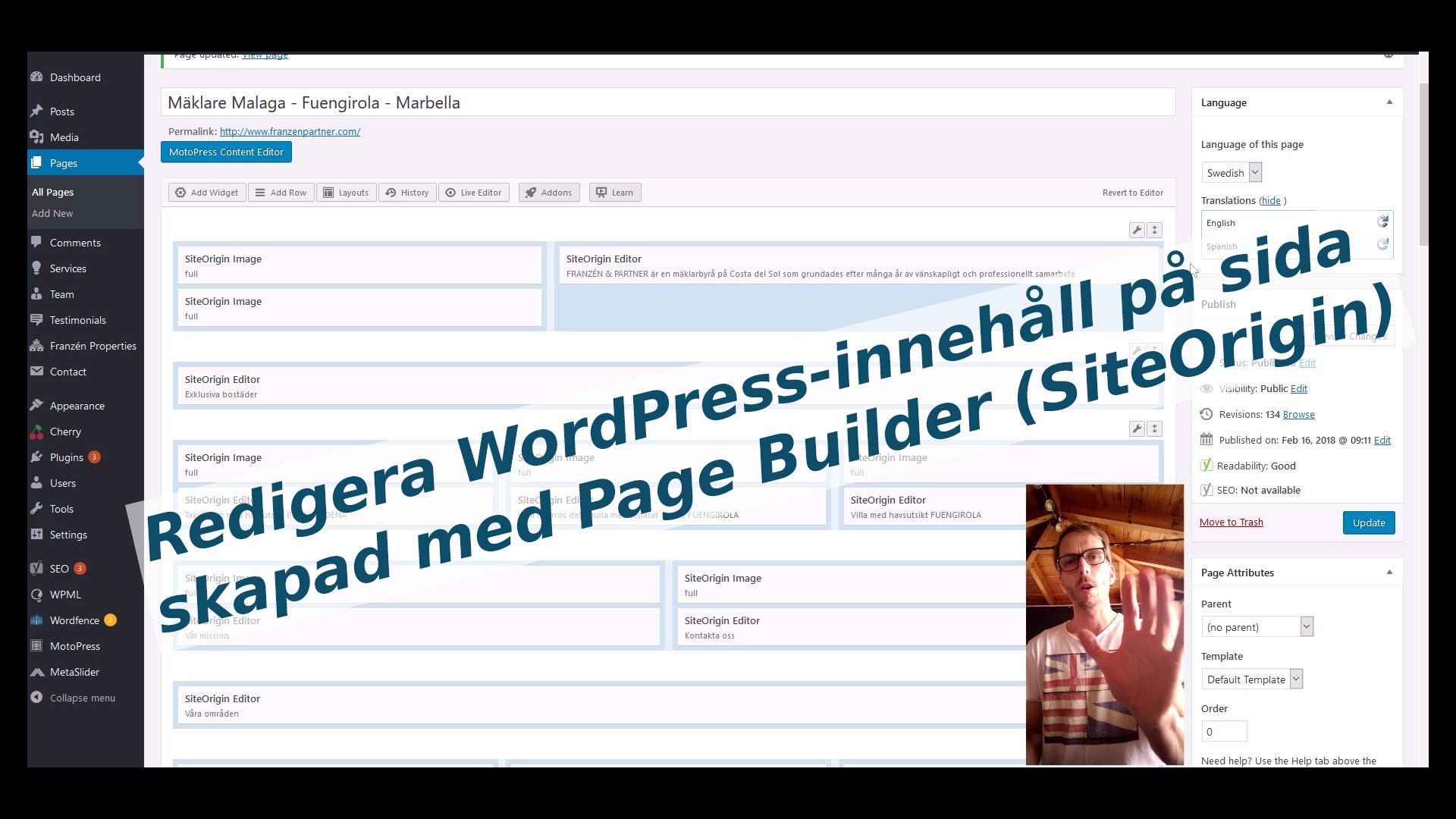 Redigera innehåll i Page Builder by SiteOrigin